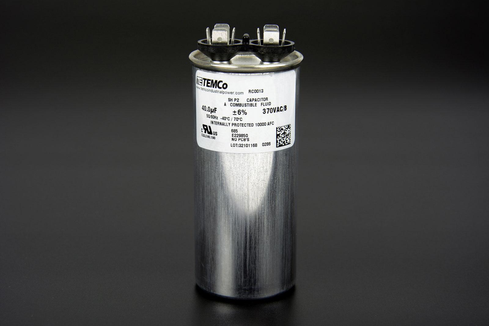 Run capacitor 40 mfd 370v round ac electric motor hvac 370 for Capacitors for electric motors