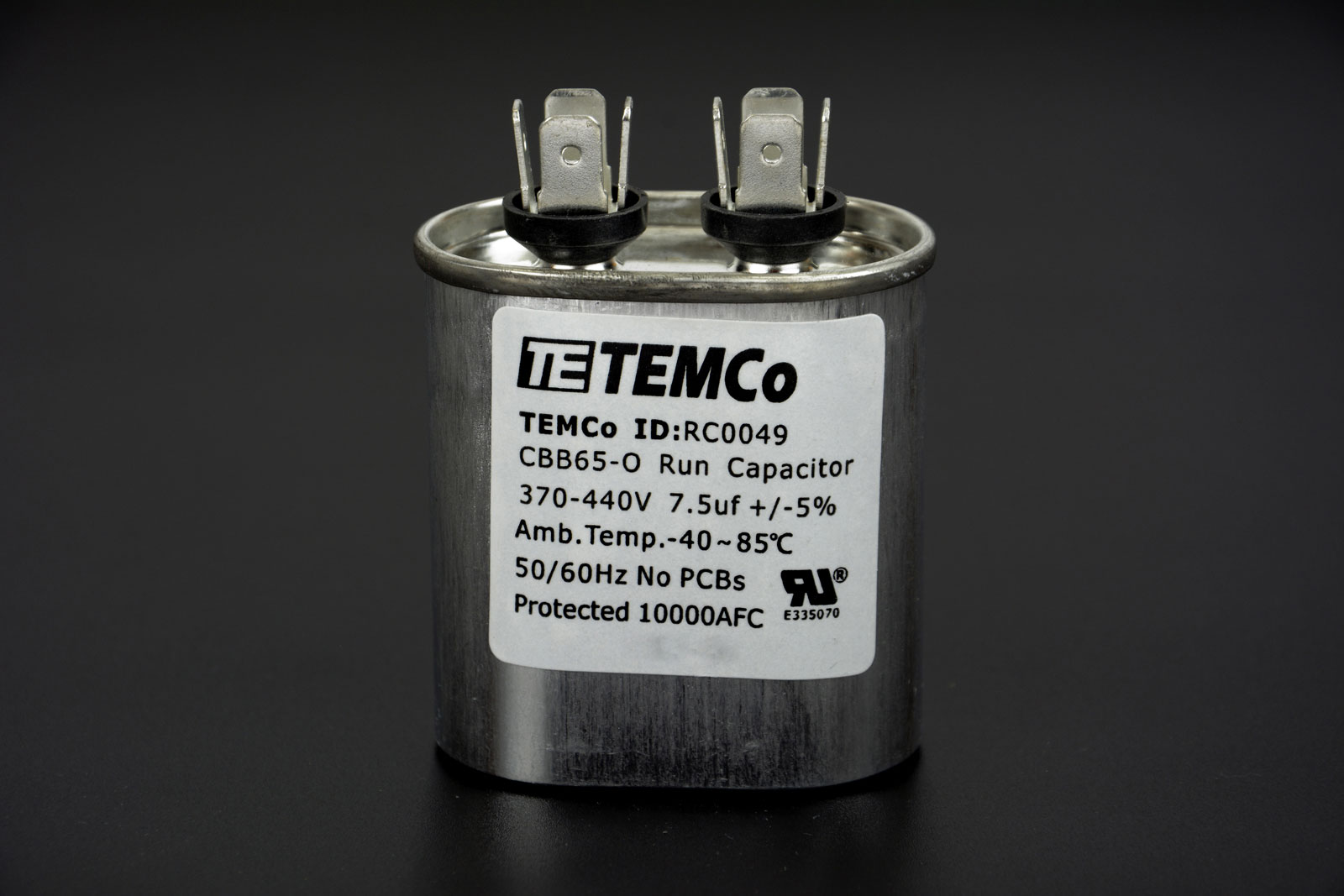 Temco 7 5 mfd uf run capacitor 370 440 vac volts ac motor for Capacitors for electric motors