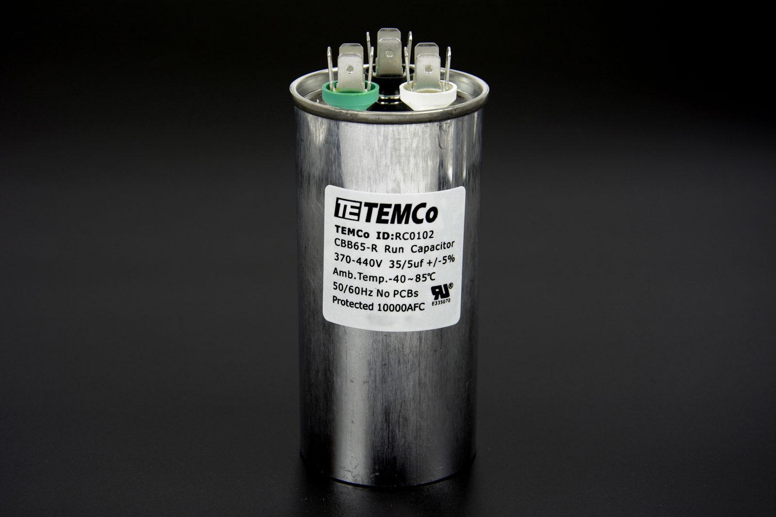 Temco 35 5 Mfd Uf Dual Run Capacitor 370 440 Vac Volts Ac