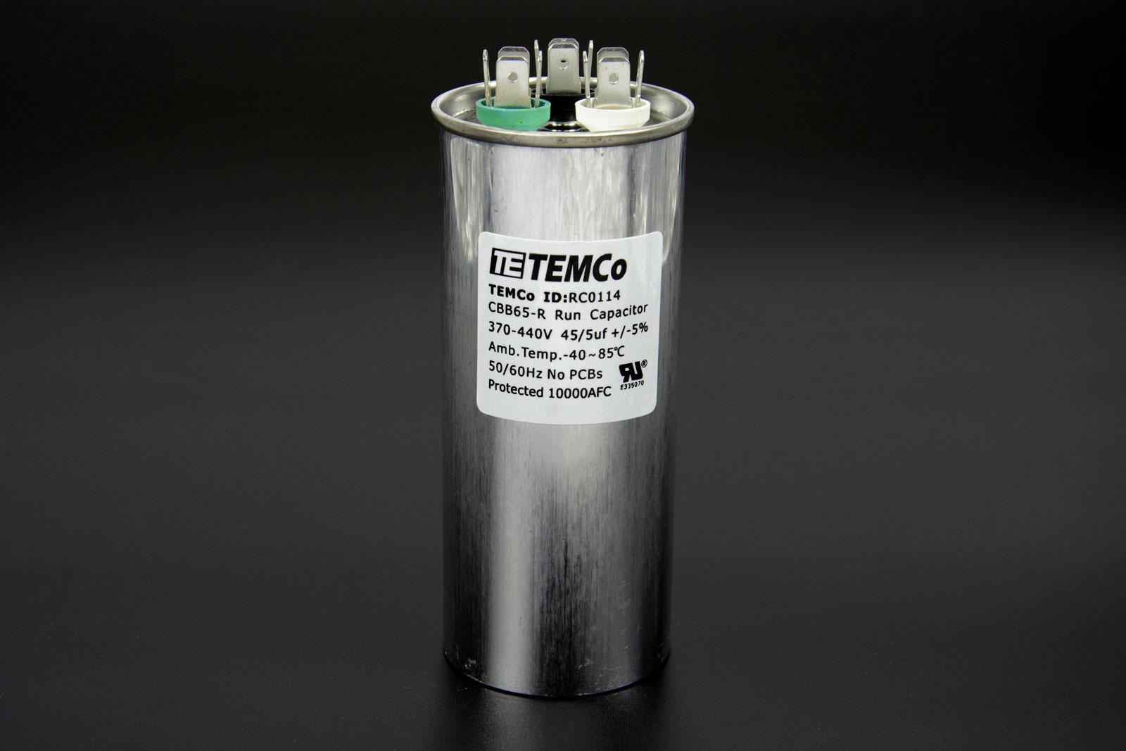 Temco 45 5 Mfd Uf Dual Run Capacitor 370 440 Vac Volts 5