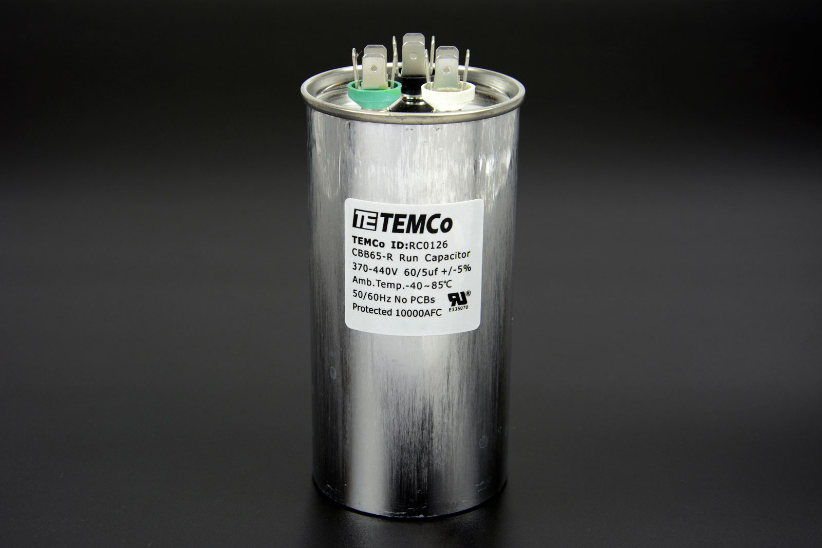 Temco 60 5 Mfd Uf Dual Run Capacitor 370 440 Vac Volts Ac