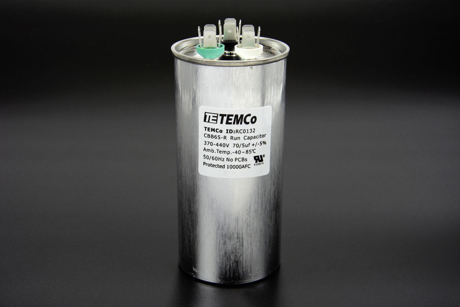 Temco 70 5 Mfd Uf Dual Run Capacitor 370 440 Vac Volts Ac