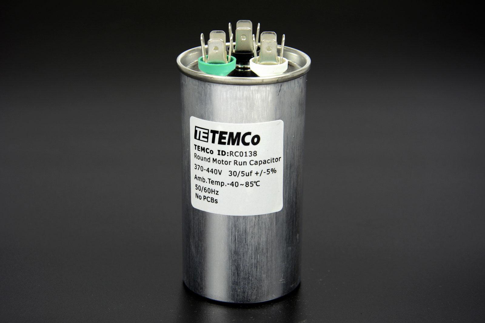 Temco 30 5 Mfd Uf Dual Run Capacitor 370 440 Vac Volts 50